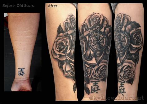 tattoos to cover up self harm scars self harm forearm scars cover up black and grey