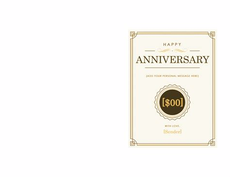 anniversary gift card template anniversary gift certificate template word 2003 free