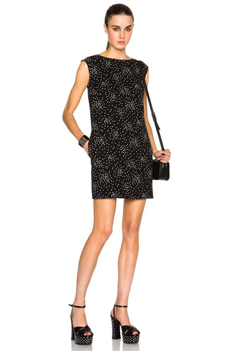 Laurent Slit Dress Black laurent print dress in black lyst