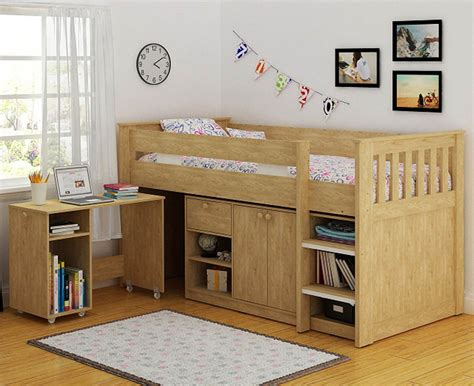 Small Mid Sleeper Bed by Seconique Merlin Oak Effect Sturdy Mid Sleeper Bed