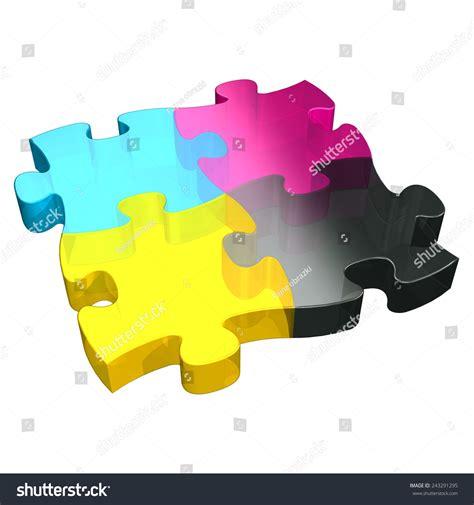 cmyk puzzle cmyk puzzle 3d stock illustration 243291295