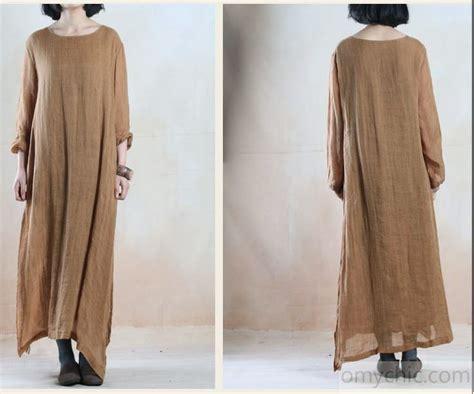khaki layered flowy linen maxi dress plus size linen clothing