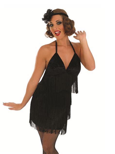 lade anni 20 black flapper costume fs3616 fancy dress