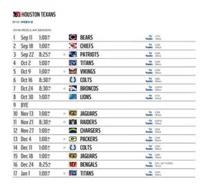 houston texans 2016 nfl schedule released