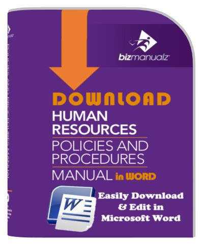 human resource manual template sop policies and procedures manual templates bizmanualz