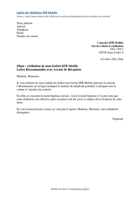Lettre De Résiliation Mobile La Poste Modele Resiliation Sfr Mobile Document