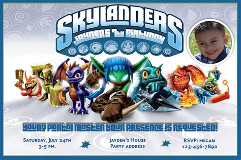 Skylanders Game Inspired Birthday Invitations Skylanders Birthday Invitations Template