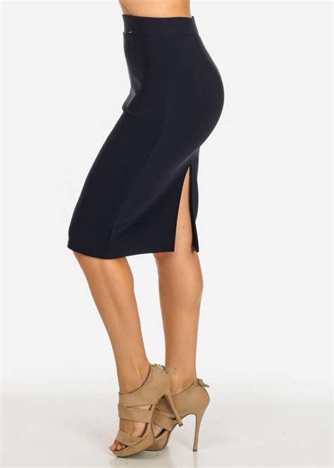 Slit Back Midi Skirt high waisted pencil navy midi skirt with back slit in 5