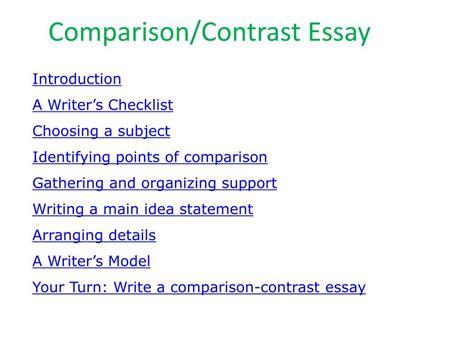 comparison contrast essay sles ppt comparison contrast essay powerpoint presentation