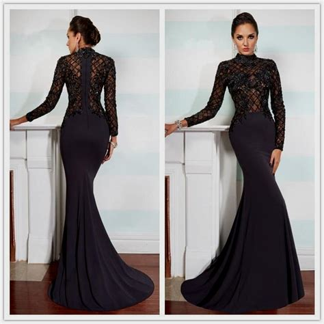 long sleeve lace prom dresses black long sleeve lace prom dress naf dresses