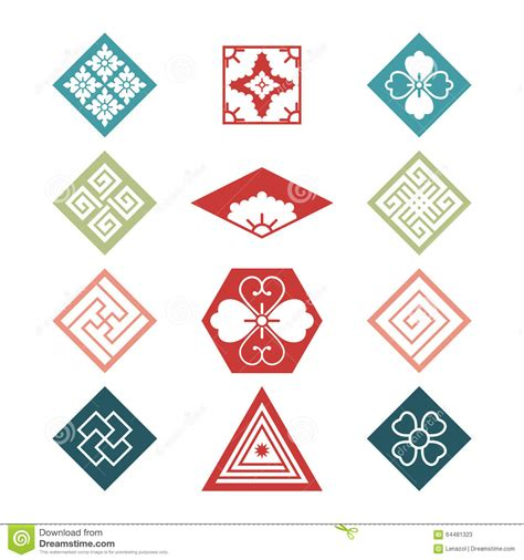 traditional design elements vector set with traditional japanese design elements stock vector