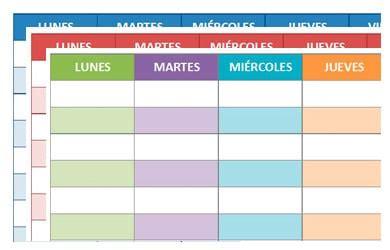 plantillas organizativas de todas clases para imprimir horario de clases para imprimir descarga formato editable