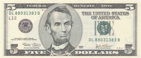 abraham lincoln on dollar 5 dollar bill