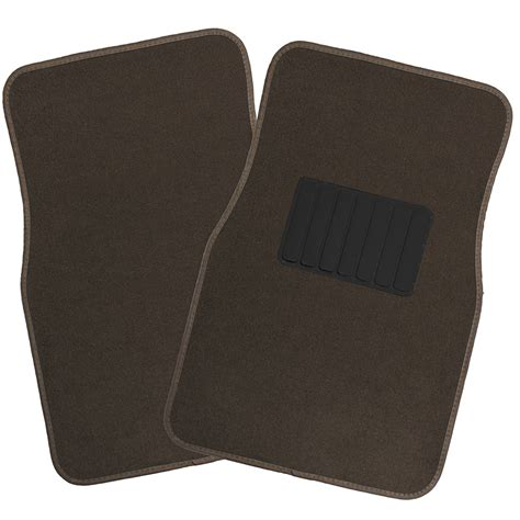 car floor mats for auto 4pc carpet semi custom fit heavy duty w heel pad brown ebay