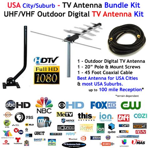 tv antenna bundle with uhf vhf tv antenna j pole and coaxial cable