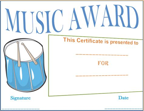 templates for music certificates music award template
