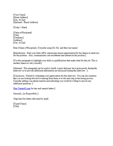 Free Interview Thank You Letter Template Sles Thank You Letter Template