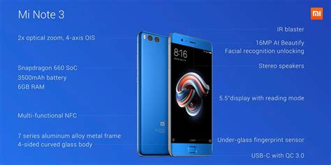Xiaomi Mi Note 3 Minote 3 6 64 Gb Ram 6gb Memory 64gb Black Xiaomi Mi Note 3 5 5 Inch Recognition 6gb Ram 64gb