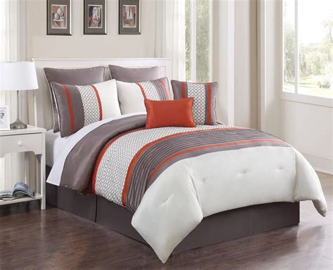 orange comforter queen 8 piece queen aruba orange taupe comforter set