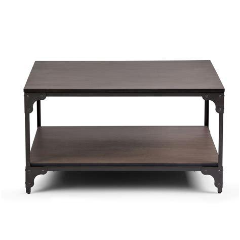 brown square coffee table simpli home nantucket walnut brown square coffee table