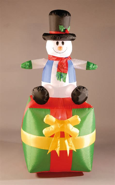 inflatable 180cm 6ft snowman and present 163 47 49