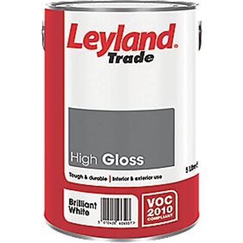 high gloss paint leyland trade high gloss paint brilliant white 5ltr