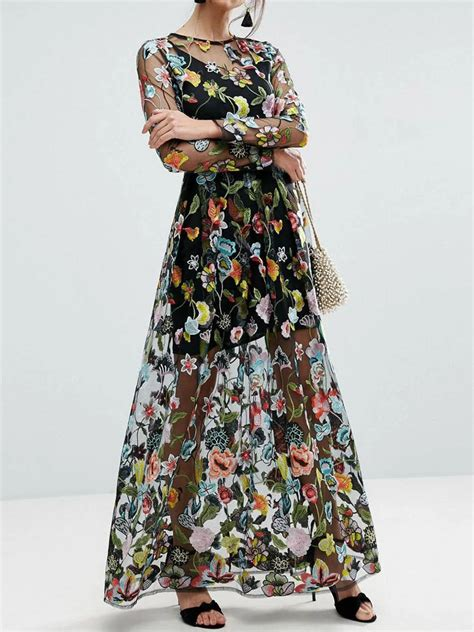 Sleeve Embroidery Dress black embroidery floral sleeve sheer mesh maxi dress