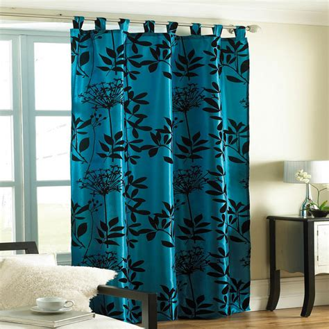 White Teal Curtains Teal Printed Flock Design Satin Curtain Panel Size