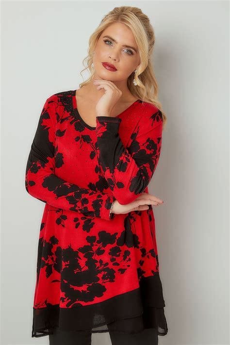 Modell S Gift Card Balance Check - red black floral print top with chiffon hem plus size 16 to 36