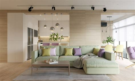 pastel accents expansive light wood in two modern homes