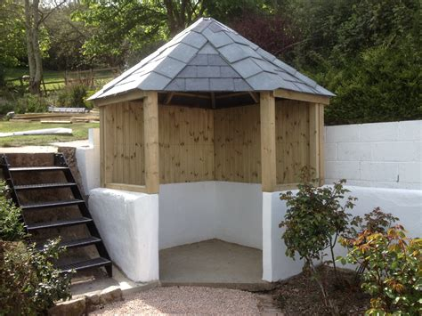 Metal Island Kitchen corner garden arbor slate roof the wooden workshop