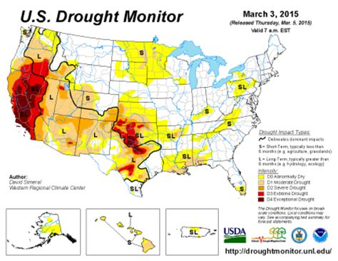 us drought map u s drought monitor update for march 3 2015 national centers for environmental information