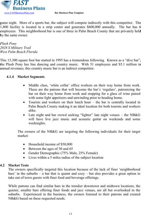 free pub business plan template sle bar business plan template for free page