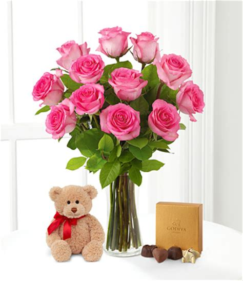 Vas Bunga One Pieces By Kjperabot dozen pink roses with teddy and chocolates