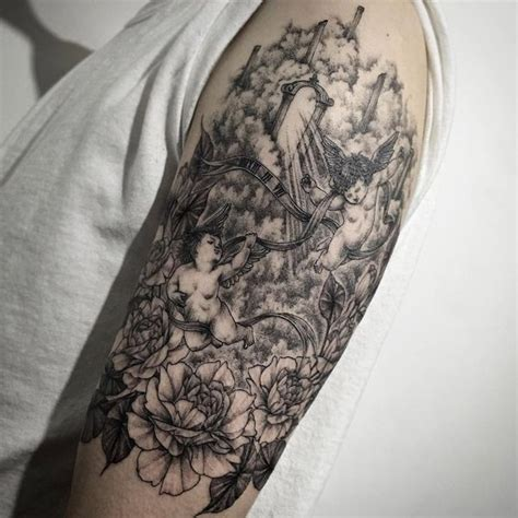 quarter sleeve angel tattoo quarter sleeve tattoo ideas for men and women 2018