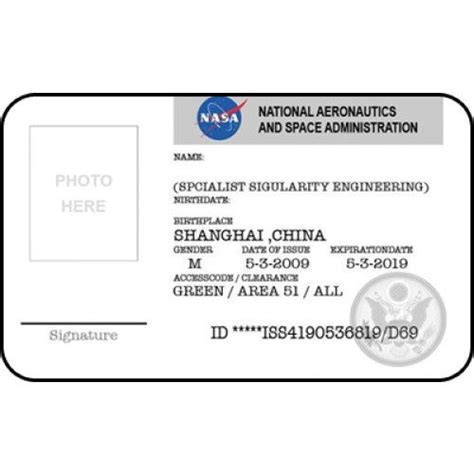 nasa id card badge national aeronautics space