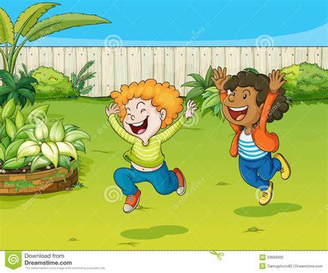 Jouer Dans Le Jardin by Jouer Des Enfants Dans Un Jardin Illustration De Vecteur