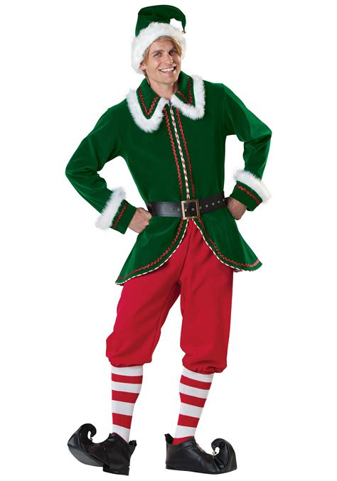 santa s adult elf costume christmas costumes for adults