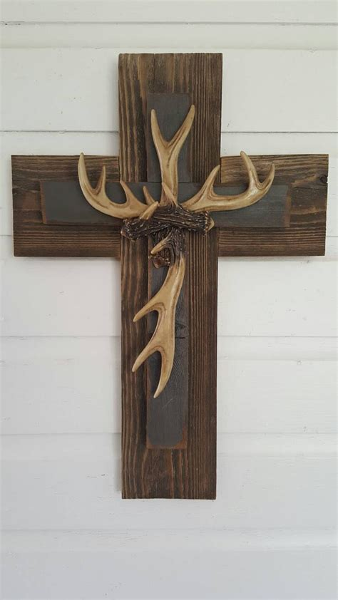 unique gift hunter rustic cedar country deer antler cross hunter unique rustic country slate gray deer antler cross