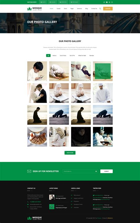 center column themes mosque islamic center bootstrap psd template by webstrot