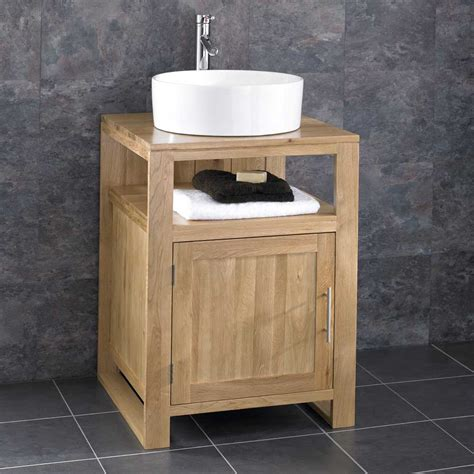 free standing bathroom sink cabinets cube solid oak freestanding 55cm washstand sink washbasin