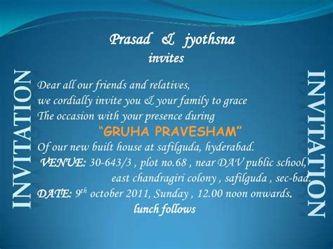Invitation Letter Format For Annaprashan Gruha Pravesh Invi Card