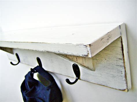 wooden shelves with hooks wood wall shelf with hooks antique white 24 inch rustic