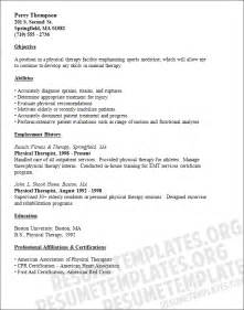 physical therapy resume exles physical therapist resume template counselling and