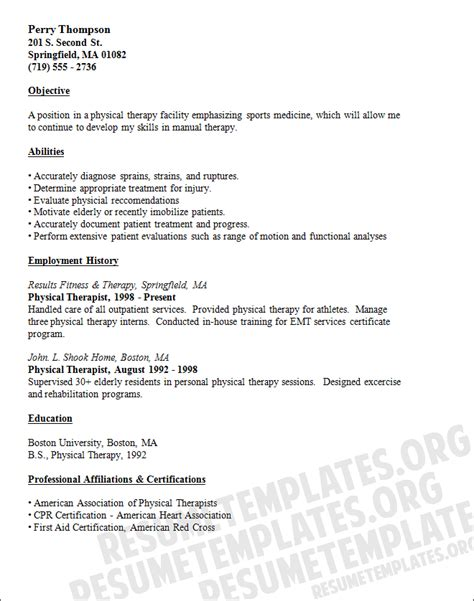 physical education resume sle physical therapy resume template resumephysical therapist