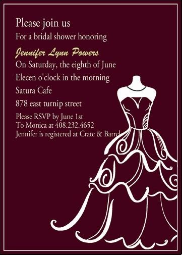 chic wedding dress templates bridal shower invitation EWBS007 as low as $0.94