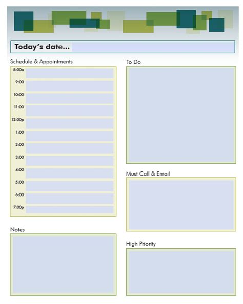 daily schedule planner templates pdf word