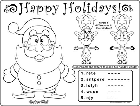 printable christmas placemats to color printable christmas coloring placemat coloring pages