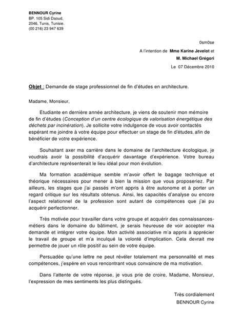 Lettre De Motivation Stage Architecture Lettre De Motivation Ecologie Le Dif En Questions