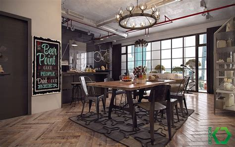 stile di arredamento come arredare una sala da pranzo in stile industriale